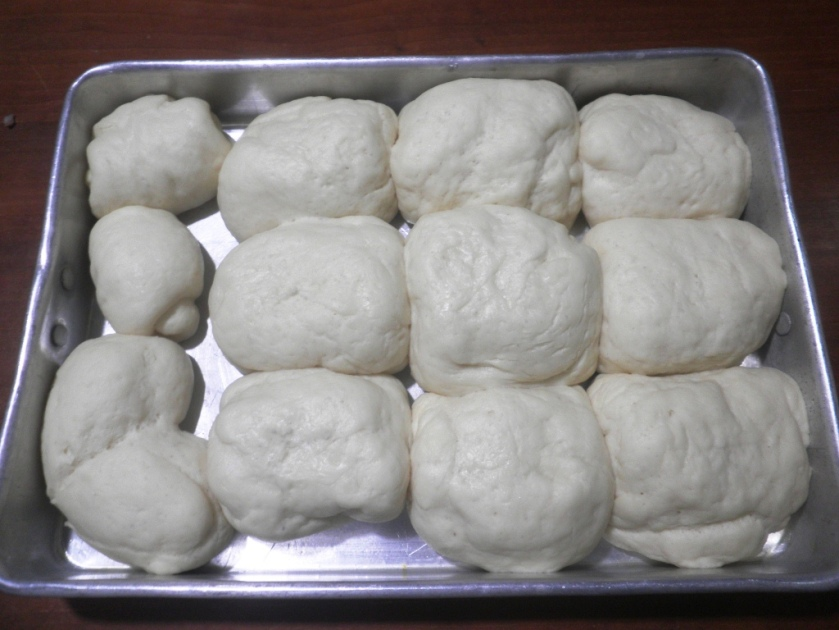 The buns looking good before being baked  in the oven.