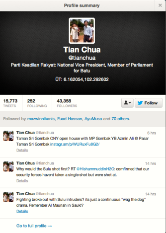 Tian Chua Tweet