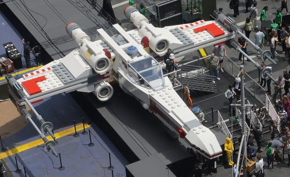 The world's largest Lego model is on display at Times Square in New York. Photo by Emmanuel Dunand/AFP/Getty Images