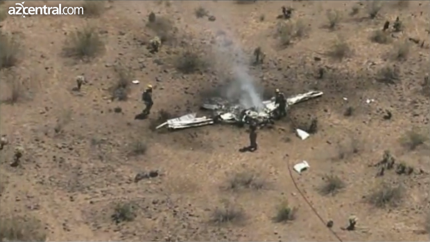One of the teo planes which collided in Phoenix, a Cessna which was burnt as it caught fire upon impact.