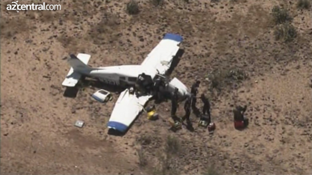 One of the two airplanes which crashed, a Piper Archer III which was mostly intact.