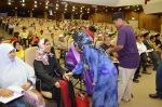 Members of the secretariats greeting Kalthum Omar during the Wacana Agenda Kristian Se Dunia: Rujukan Khas Malaysia at the Dewan Muktamar, Pusat Islam.
