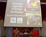 Dr. Yusri Mohamad and A. Karim Omar answering the questions during the question and answer session during the  Wacana Agenda Kristian Se Dunia: Rujukan Khas Malaysia at the Dewan Muktamar, Pusat Islam.