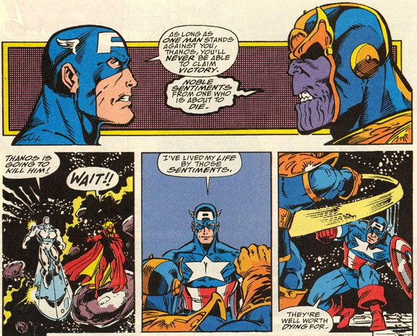 Captain America against supervillain, Thanos.